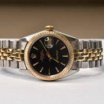 Rolex Oyster Perpetual Date Ouro/Aço 34mm Preto Sem números