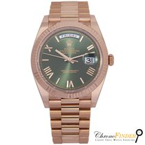 Rolex Oro rosa Automático Verde Romanos 40mm usados Day-Date 40
