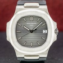 Patek Philippe White gold Automatic Grey pre-owned Nautilus