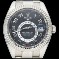 Rolex Sky-Dweller occasion 42mm Noir Date GMT Or blanc