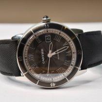 Cartier Ronde Croisière de Cartier gebraucht 42mm Grau Datum Leder
