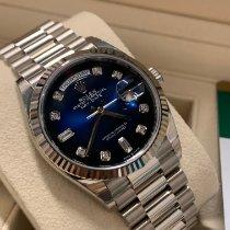 Rolex Day-Date 36 White gold 36mm Blue No numerals