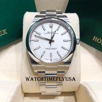 Rolex Oyster Perpetual 39 Acero 39mm Blanco Sin cifras