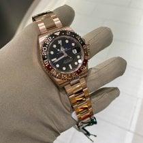 Rolex Or rose Remontage automatique Noir Sans chiffres 40mm occasion GMT-Master II