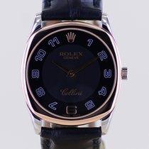 Rolex Cellini Danaos Bílé zlato 33mm Černá Bez čísel