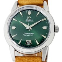 Omega Seamaster pre-owned 34mm Green Date Leather