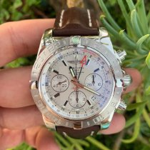 Breitling Chronomat 44 GMT occasion 44mm Argent Chronographe Date GMT Cuir
