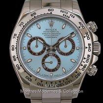 Rolex Or blanc Remontage automatique Bleu Sans chiffres 40mm occasion Daytona