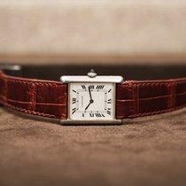 Cartier Platin Handaufzug Weiß 23mm gebraucht Tank Solo