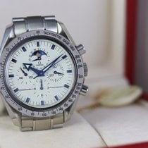 Omega Speedmaster Professional Moonwatch Moonphase occasion 42mm Blanc Phase lunaire Chronographe Date Tachymètre Acier