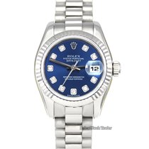Rolex White gold Automatic Blue No numerals 26mm new Lady-Datejust