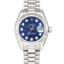 Rolex Белое золото Автоподзавод Синий Без цифр 26mm подержанные Lady-Datejust