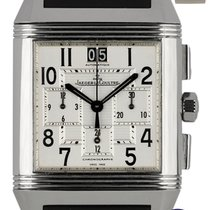 Jaeger-LeCoultre Reverso Squadra Chronograph GMT pre-owned 35mm Silver Chronograph Date Rubber
