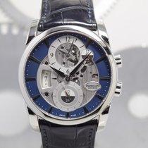 Parmigiani Fleurier Tonda подержанные 42mm Синий Дата GMT/две час.зоны Кожа