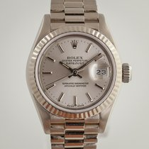 Rolex White gold Automatic Silver No numerals 26mm pre-owned Lady-Datejust
