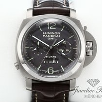 Panerai Luminor 1950 8 Days Chrono Monopulsante GMT Titanio 44mm Marrón Arábigos