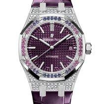 Audemars Piguet White gold Automatic Purple No numerals 37mm new Royal Oak Lady