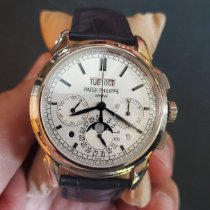 Patek Philippe White gold Manual winding Silver No numerals 41mm pre-owned Perpetual Calendar Chronograph