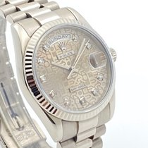 Rolex Or blanc Remontage automatique Gris Sans chiffres 36mm occasion Day-Date 36