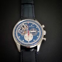 Zenith Steel Automatic Blue No numerals 42mm pre-owned El Primero Chronomaster