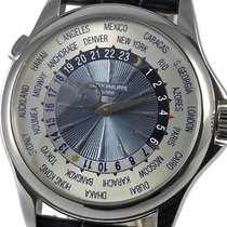 Patek Philippe World Time Platinum 39.5mm Blue No numerals
