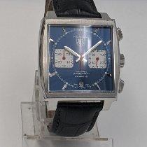 TAG Heuer Monaco Calibre 12 occasion 39mm Bleu Chronographe Date Cuir de crocodile
