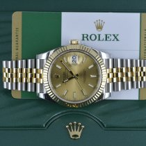 Rolex Yellow gold Automatic Champagne No numerals 41mm pre-owned Datejust