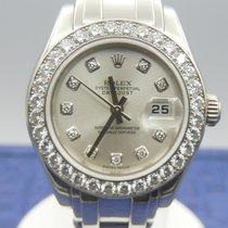 Rolex Lady-Datejust Pearlmaster Ouro branco 29mm Prata Sem números