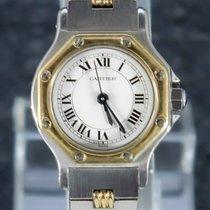 Cartier Santos (submodel) Золото/Cталь 30mm Белый Римские