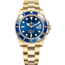 Rolex Submariner Date Oro amarillo 41mm Azul Sin cifras