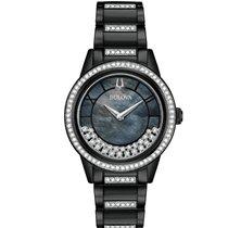 Bulova Silver Quartz Mother of pearl No numerals 32mm new Crystal