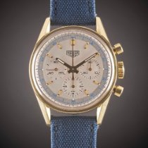 TAG Heuer Yellow gold Manual winding Silver pre-owned Carrera