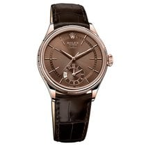 Rolex Cellini Dual Time Rose gold 39mm Brown No numerals