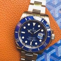 Rolex Submariner Date Or blanc 40mm Bleu Sans chiffres