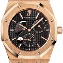 Audemars Piguet Royal Oak Dual Time Or rose 39mm Noir Sans chiffres