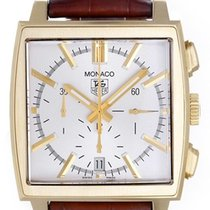 TAG Heuer Yellow gold Automatic Silver No numerals 38mm pre-owned Monaco
