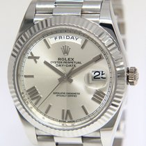 Rolex Day-Date 40 Or blanc 40mm Argent Romains