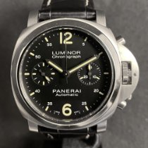 Panerai Luminor Chrono Steel 40mm Black Arabic numerals