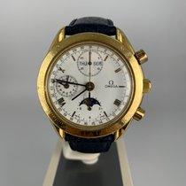 Omega Желтое золото Автоподзавод Белый 39mm подержанные Speedmaster Professional Moonwatch Moonphase