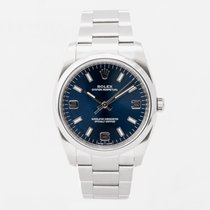 Rolex Air King pre-owned 34mm Blue Steel