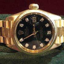 Rolex Or jaune Remontage automatique Noir Sans chiffres 26mm occasion Lady-Datejust
