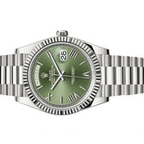 Rolex Or blanc Remontage automatique Vert Romains 40mm occasion Day-Date 40