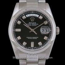 Rolex Or blanc Remontage automatique Noir 36mm occasion Day-Date 36