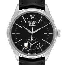 Rolex Cellini Dual Time Aur alb 39mm Negru