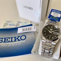 Seiko 5 Steel 35mm Black Arabic numerals