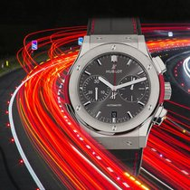 Hublot Classic Fusion Racing Grey gebraucht 45mm Silber Chronograph Datum Kautschuk
