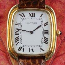 Cartier Gelbgold Handaufzug Weiß Römisch 34mm gebraucht