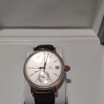 IWC Portofino Handaufzug gebraucht 45mm Silber Chronograph Datum Krokodilleder