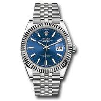 Rolex Or blanc Remontage automatique Bleu Sans chiffres 41mm nouveau Datejust II