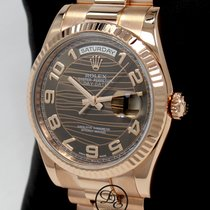 Rolex Or rose Remontage automatique Brun 36mm occasion Day-Date 36